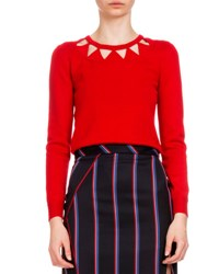Altuzarra Long Sleeve Diamond Cutout Sweater Red
