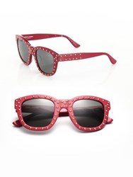 Saint Laurent Sl 100 Lou 48Mm Studded Soft Square Sunglasses Red