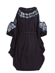 Rachel Comey Gallant Tie Dye Cotton Dress Blue White