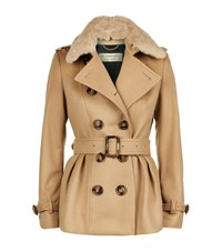 Burberry London Fur Collar Skirted Wool Jacket Female Camel
