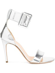 Monse Ankle Buckle Sandals Metallic
