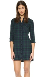 Wayf Flannel Shirt Dress Green Flannel