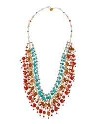 Stephen Dweck Silver Triple Strand Layered Turquoise Carnelian And Agate Necklace