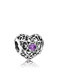 Pandora Design Pandora Charm Sterling Silver And Synthetic Amethyst February Signature Heart
