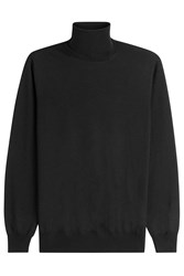 Jil Sander Wool Turtleneck Pullover With Silk Black
