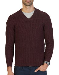 Nautica Knitted V Neck Sweater Shipwreck Burgundy