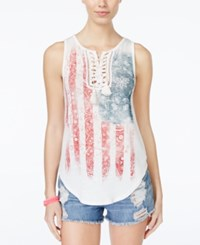 American Rag Americana Lace Up Tank Top Only At Macy's One White