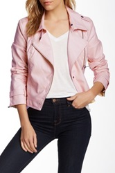 Blanc Noir Faux Leather Motor Jacket Pink