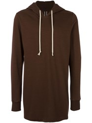 Rick Owens Long Length Hoodie Brown
