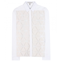Victoria Beckham Triangle Appliqued Silk And Wool Blend Crepe Shirt White