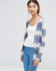 Vero Moda Long Cardigan In Denim Blue And White Ombre Antique White W. Blu Multi