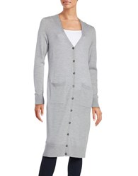Lord And Taylor Merino Wool Long Cardigan Platinum Heather