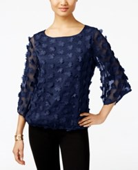 Eci Applique Blouson Top Navy