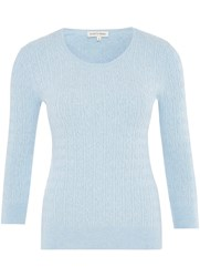 Austin Reed Cable Knit Crew Neck Jumper Blue