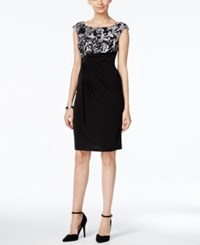 Connected Scroll Print Draped Sheath Dress Black