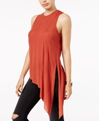 Guess Joscelyn Ribbed Asymmetrical Top Autumn Red
