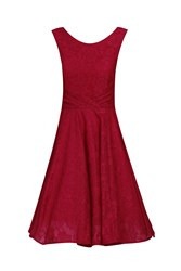 Jolie Moi Lace Bonded Pleated Waistband Dress Red