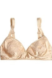 Dolce And Gabbana Lace Trimmed Stretch Silk Satin Soft Cup Bra
