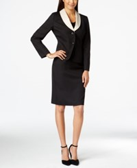 Le Suit Contrast Collar Jacket Skirt Suit Black Champagne