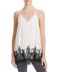 Alice Olivia Alice And Olivia Rowena Lace Trim Racerback Tank Off White Black