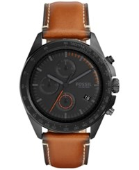 Fossil Men's Chronograph Sport 54 Dark Brown Leather Strap Watch 44Mm Ch3050