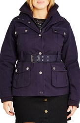 City Chic Plus Size Women's Rib Knit Trim Belted Utility Jacket French Navy