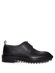 Lanvin Tread Sole Leather Derby Shoes Black