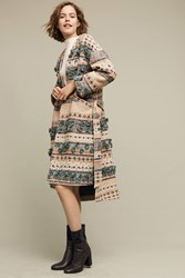 Anthropologie Textured Tassel Coat Blue Motif