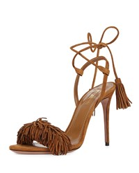 Aquazzura Wild Thing Suede Fringe Sandal Cognac Red