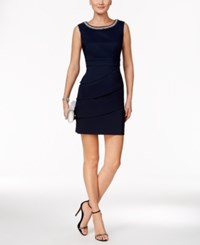 Connected Petite Tiered Embellished Sheath Dress Navy