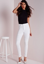 Missguided High Waisted Skinny Biker Jean White White