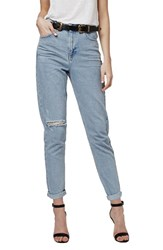 Women's Topshop High Rise Ripped Mom Jeans