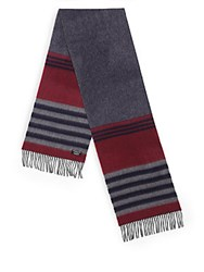 Saks Fifth Avenue Varigated Stripe Merino Wool And Cashmere Scarf Navy Grey