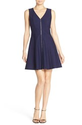 Women's Adelyn Rae Back Cutout Fit And Flare Dress With Front Zipper Detail
