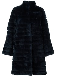 Yves Salomon Meteo By Panelled Fur Coat Blue