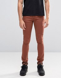 Asos Super Skinny Jeans With Camo Turn Up In Rust Friar Brown