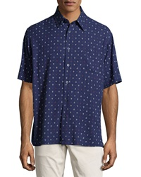Neiman Marcus Classic Fit Silk Blend Anchor Print Sport Shirt Navy Flame
