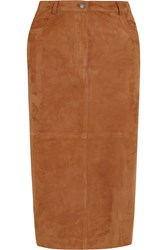 Joseph Clan Suede Midi Skirt Brown