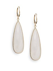 Saks Fifth Avenue White Moon Quartz And 18K Yellow Gold Teardrop Earrings