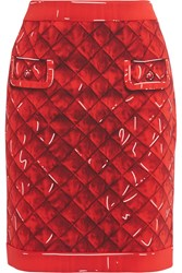 Moschino Printed Crepe Skirt Red