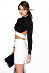 Boohoo Mono Rib Open Tie Back Crop Black