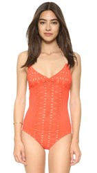 Nightcap X Carisa Rene Spiral Lace One Piece Swimsuit Hot Orange