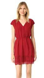 Madewell Short Sleeve Dress With Embroidery Bright Garnet