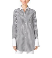Michael Kors Striped French Cuff Cotton Poplin Shirt Black White