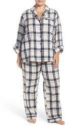 Nordstrom Plus Size Women's Lingerie Print Cotton Twill Pajamas Navy Peacoat Paige Plaid