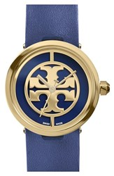 Women's Tory Burch 'Reva' Logo Dial Leather Strap Watch 28Mm Navy Gold