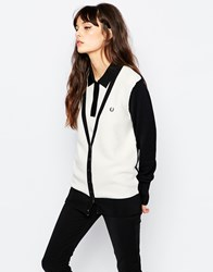 Fred Perry Colour Block Knit Cardigan Black
