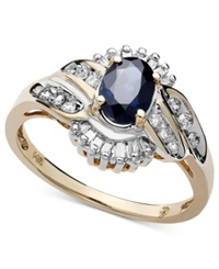 Macy's 14K Gold Ring Sapphire 1 Ct. T.W. And Diamond 1 3 Ct. T.W. Oval Swirl Blue