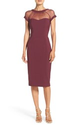 Maggy London Petite Women's Illusion Yoke Crepe Sheath Dress Maroon