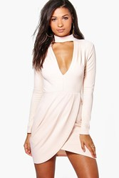 Boohoo Plunge Neck Wrap Detail Bodycon Dress Blush